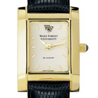 Wake Forest Women's Gold Quad Watch with Leather Strap