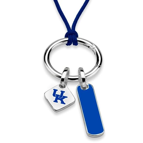 University of Kentucky Silk Necklace with Enamel Charm & Sterling Silver Tag - Image 1