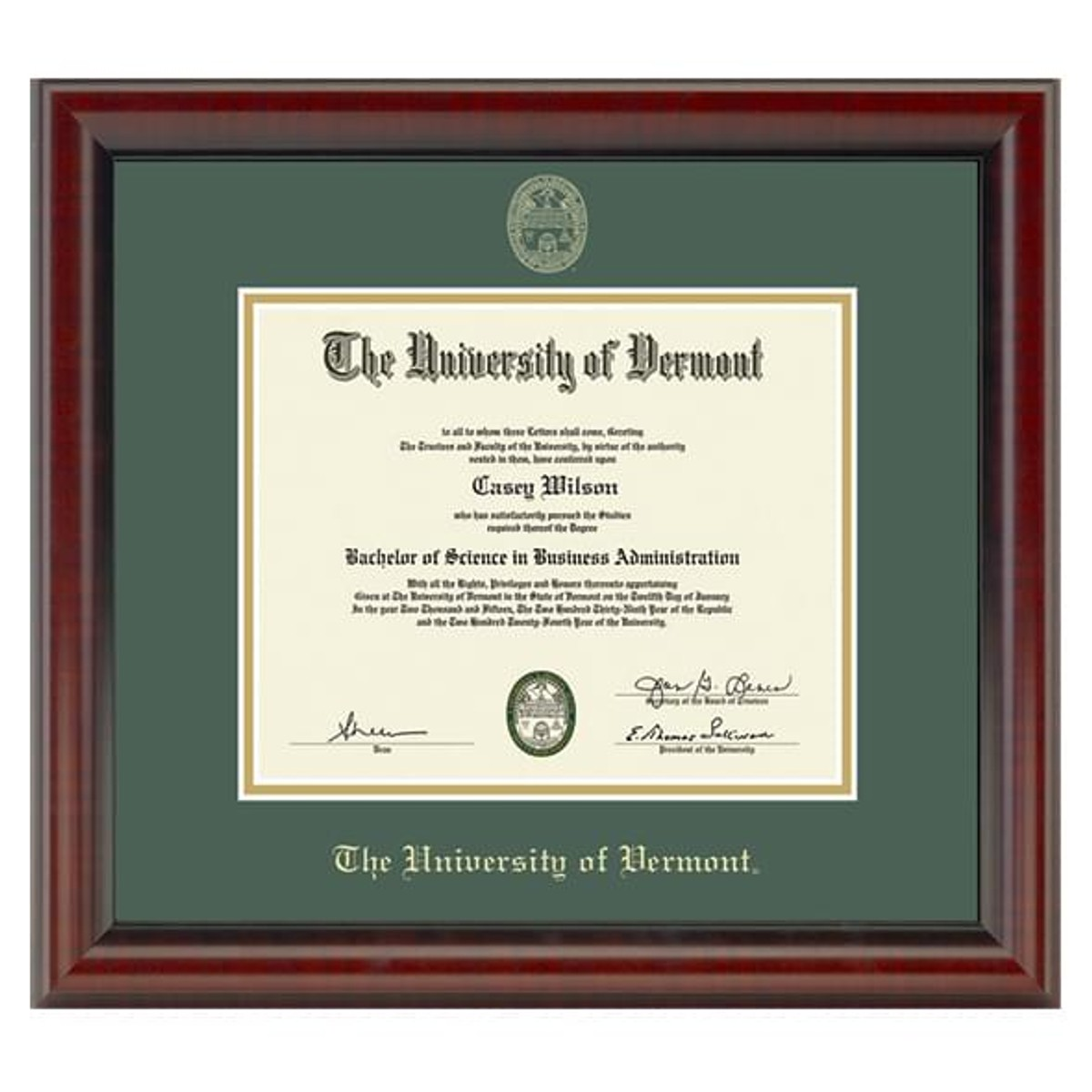 Official University Of Vermont Diploma Frame The