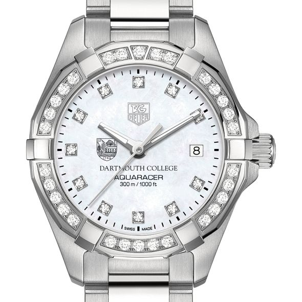 Dartmouth College W's TAG Heuer Steel Aquaracer with MOP Dia Dial & Bezel