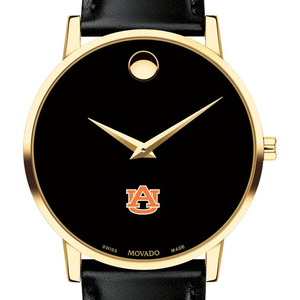 Auburn University Men's Movado Gold Museum Classic Leather