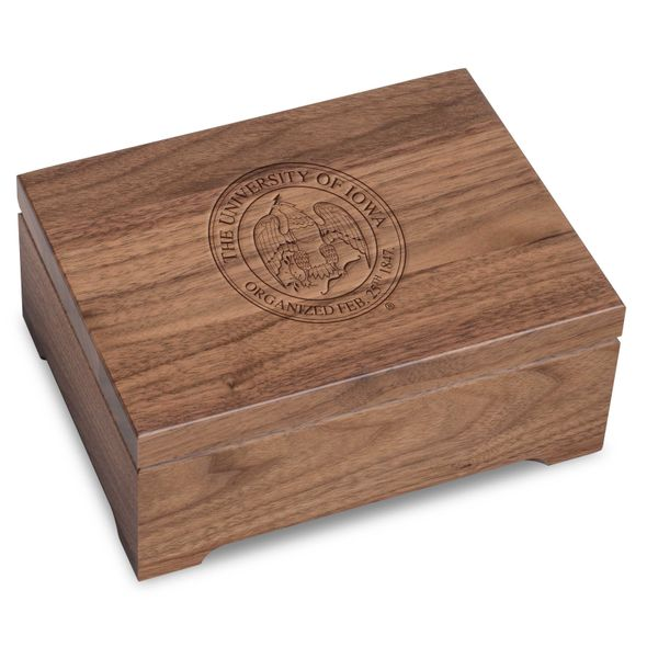 University of Iowa Solid Walnut Desk Box