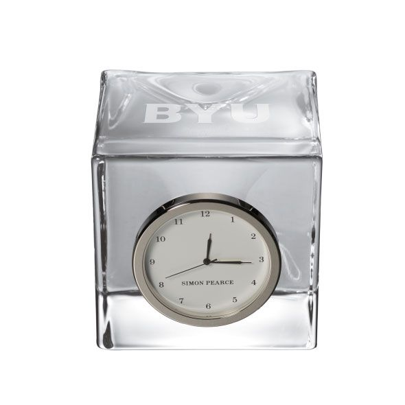 Brigham Young University Glass Desk Clock by Simon Pearce