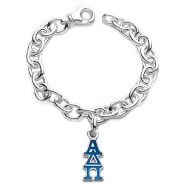 Alpha Delta Pi Sterling Silver Charm Bracelet with Greek Letter Charm