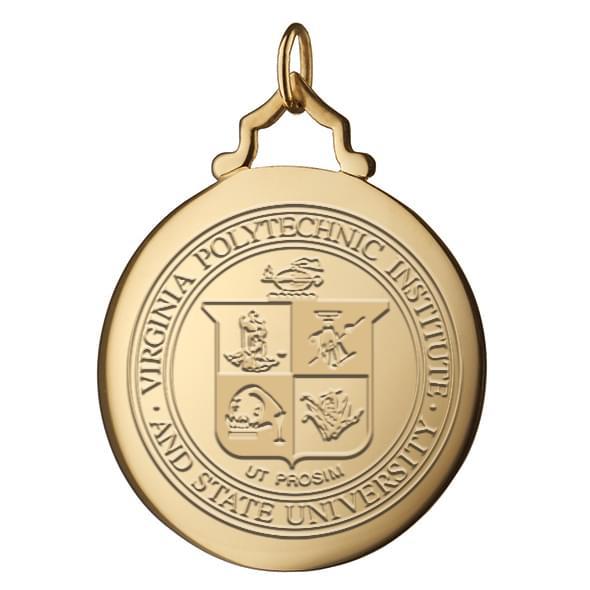 Virginia Tech Monica Rich Kosann Round Charm in Gold with Stone - Image 2