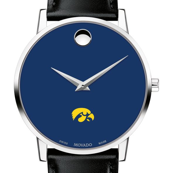 University of Iowa Men's Movado Museum with Blue Dial & Leather Strap