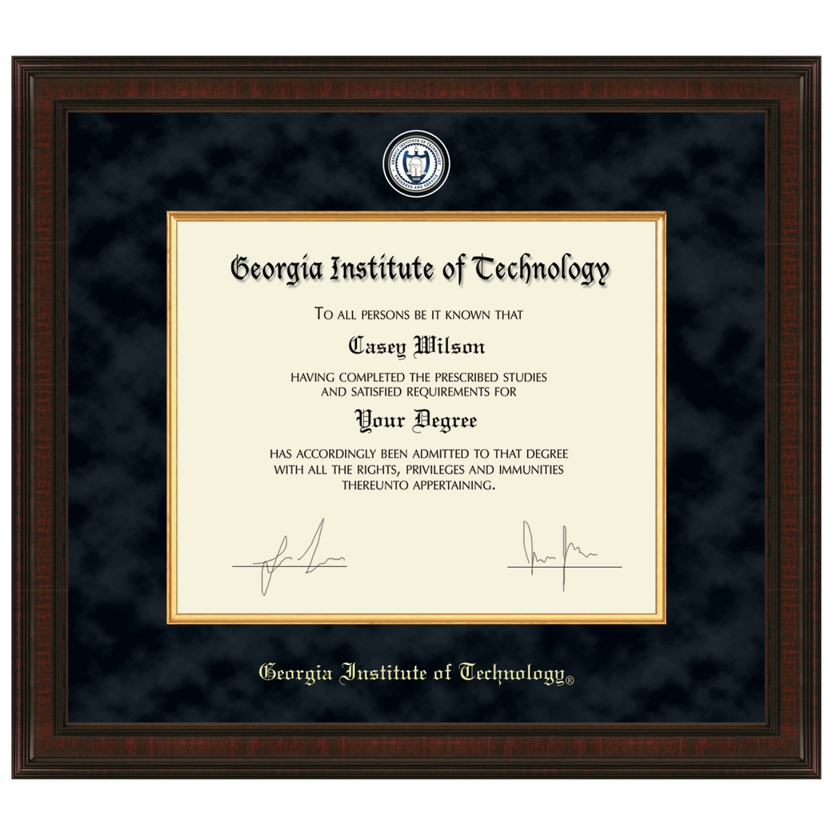 Georgia Tech Diploma Frame Excelsior Graduation Gift