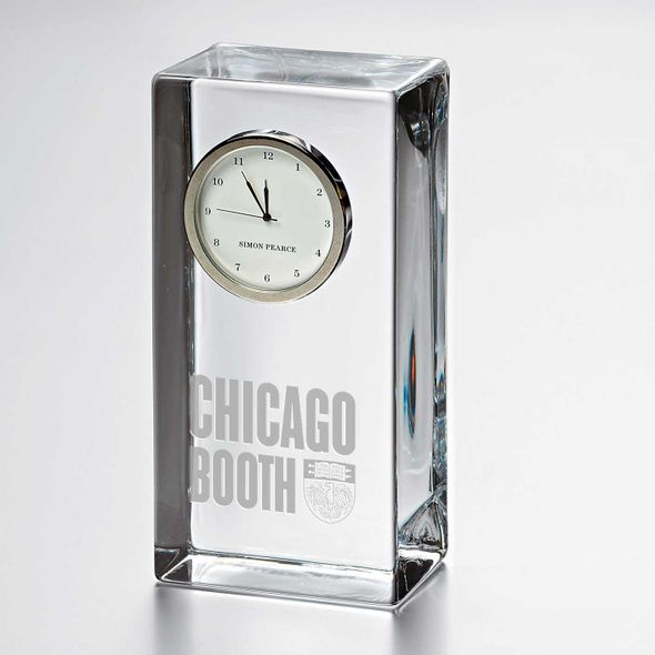 Chicago Booth Tall Glass Desk Clock by Simon Pearce
