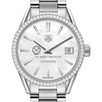 U.S. Naval Institute Women's TAG Heuer Steel Carrera with MOP Dial & Diamond Bezel