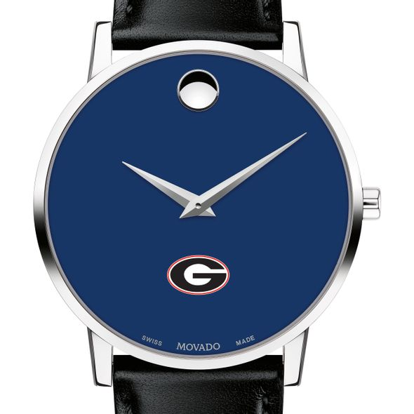 University of Georgia Men's Movado Museum with Blue Dial & Leather Strap