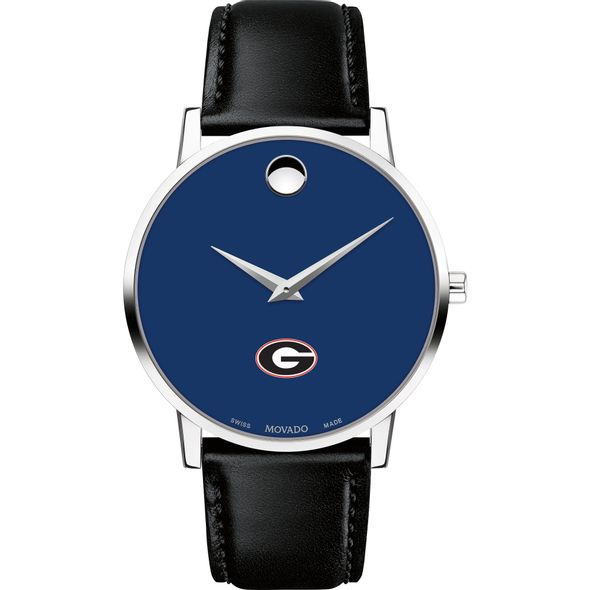 University of Georgia Men's Movado Museum with Blue Dial & Leather Strap - Image 2