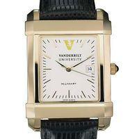 Vanderbilt Men's Gold Quad Watch with Leather Strap