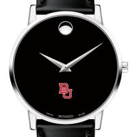 Boston University Men's Movado Museum with Leather Strap