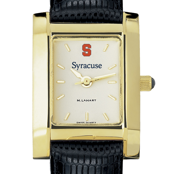 Syracuse University Women's Gold Quad with Leather Strap