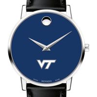 Virginia Tech Men's Movado Museum with Blue Dial & Leather Strap