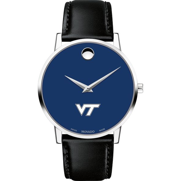 Virginia Tech Men's Movado Museum with Blue Dial & Leather Strap - Image 2