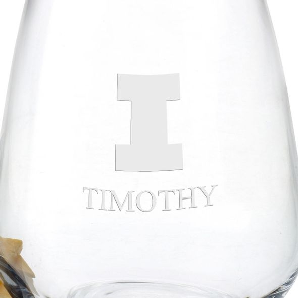 University of Illinois Stemless Wine Glasses - Set of 4 - Image 3