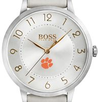 Clemson Women's BOSS White Leather from M.LaHart