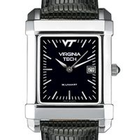 Virginia Tech Men's Black Quad Watch with Leather Strap