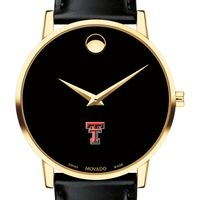 Texas Tech Men's Movado Gold Museum Classic Leather