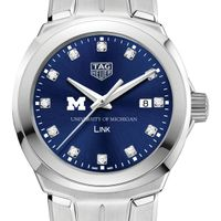 University of Michigan Women's TAG Heuer Link with Blue Diamond Dial