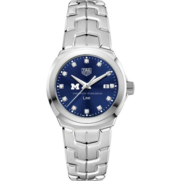 University of Michigan Women's TAG Heuer Link with Blue Diamond Dial - Image 2