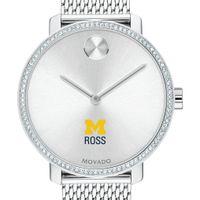 Michigan Ross Women's Movado Bold with Crystal Bezel & Mesh Bracelet