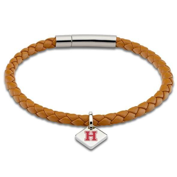 Harvard Leather Bracelet with Sterling Silver Tag - Saddle