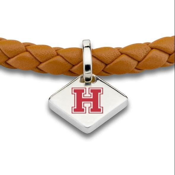 Harvard Leather Bracelet with Sterling Silver Tag - Saddle - Image 2