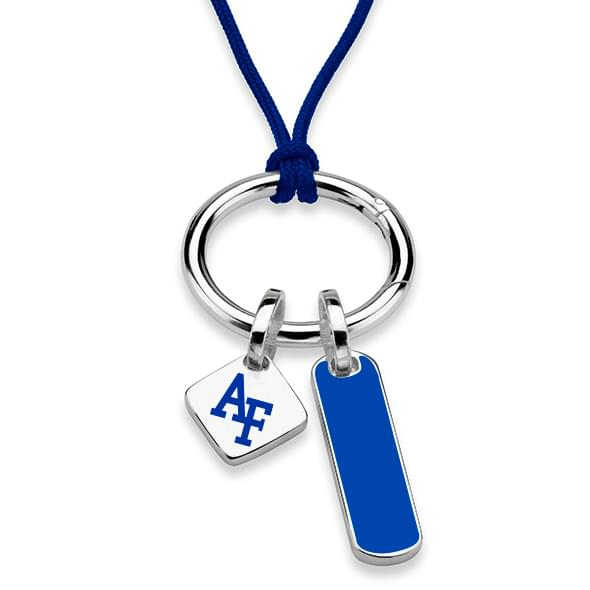 US Air Force Academy Silk Necklace with Enamel Charm & Sterling Silver Tag