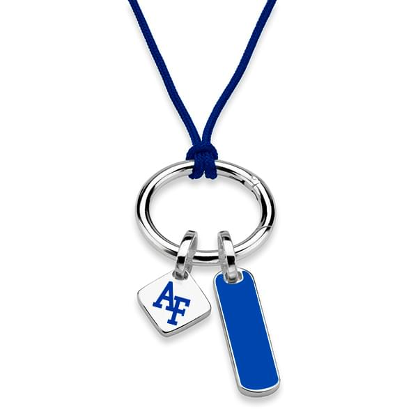 US Air Force Academy Silk Necklace with Enamel Charm & Sterling Silver Tag - Image 2
