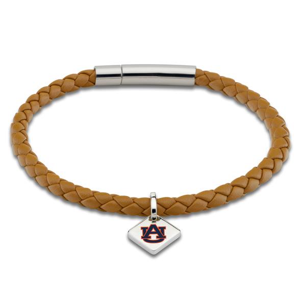 Auburn University Leather Bracelet with Sterling Silver Tag - Saddle
