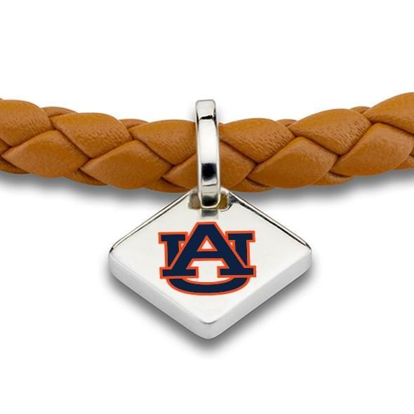 Auburn University Leather Bracelet with Sterling Silver Tag - Saddle - Image 2