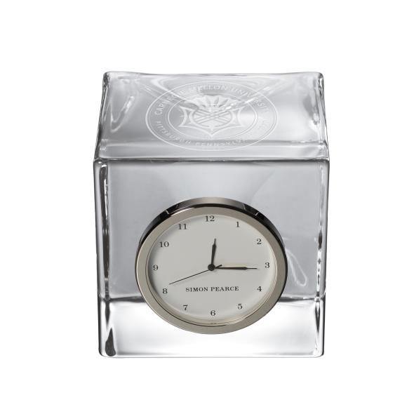 Carnegie Mellon University Glass Desk Clock by Simon Pearce