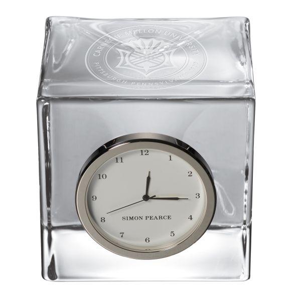 Carnegie Mellon University Glass Desk Clock by Simon Pearce - Image 2