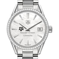 Texas A&M University Women's TAG Heuer Steel Carrera with MOP Dial & Diamond Bezel