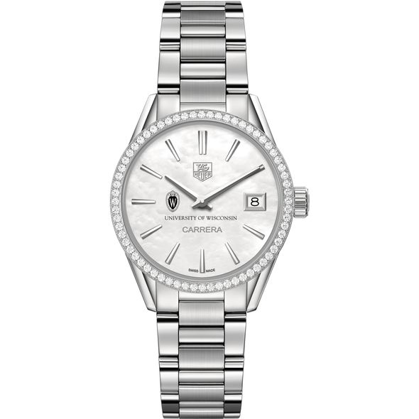 University of Wisconsin Women's TAG Heuer Steel Carrera with MOP Dial & Diamond Bezel - Image 2