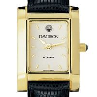 Davidson College Women's Gold Quad with Leather Strap