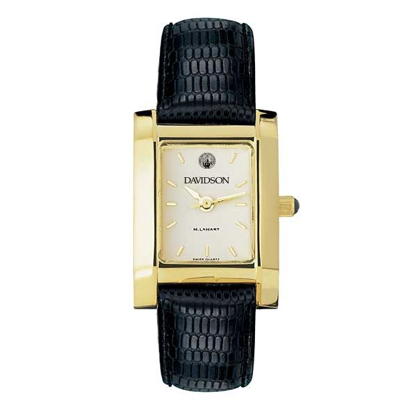 Davidson College Women's Gold Quad with Leather Strap - Image 2