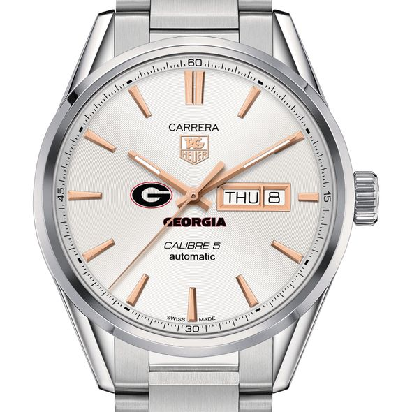 University of Georgia Men's TAG Heuer Day/Date Carrera with Silver Dial & Bracelet