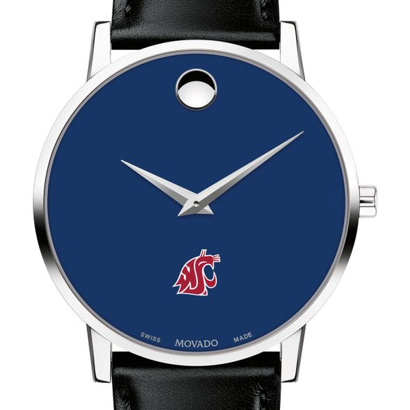Washington State University Men's Movado Museum with Blue Dial & Leather Strap