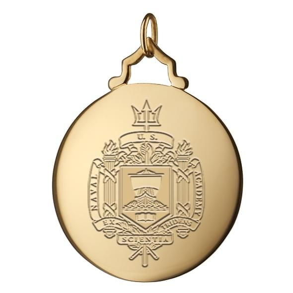Naval Academy Monica Rich Kosann Round Charm in Gold with Stone - Image 2
