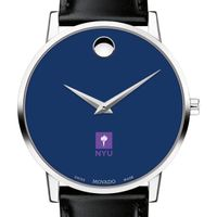 New York University Men's Movado Museum with Blue Dial & Leather Strap