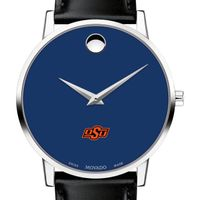 Oklahoma State University Men's Movado Museum with Blue Dial & Leather Strap