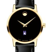 Northwestern University Women's Movado Gold Museum Classic Leather