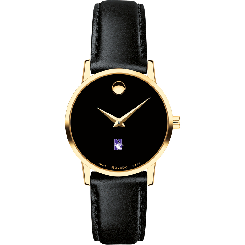 Northwestern Women's Movado Gold Museum Classic Leather - Image 2