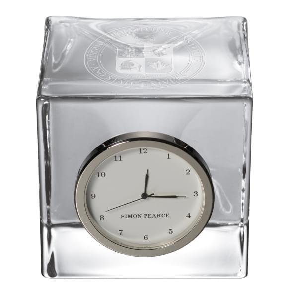 Virginia Tech Glass Desk Clock by Simon Pearce - Image 2