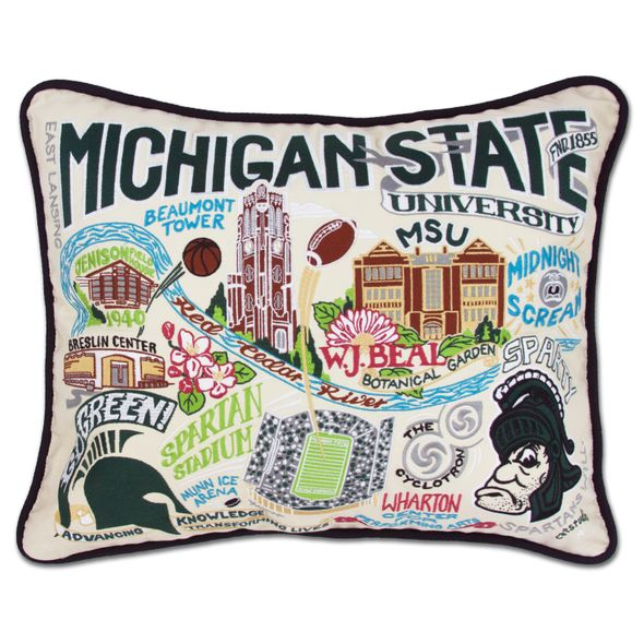 Michigan State Embroidered Pillow