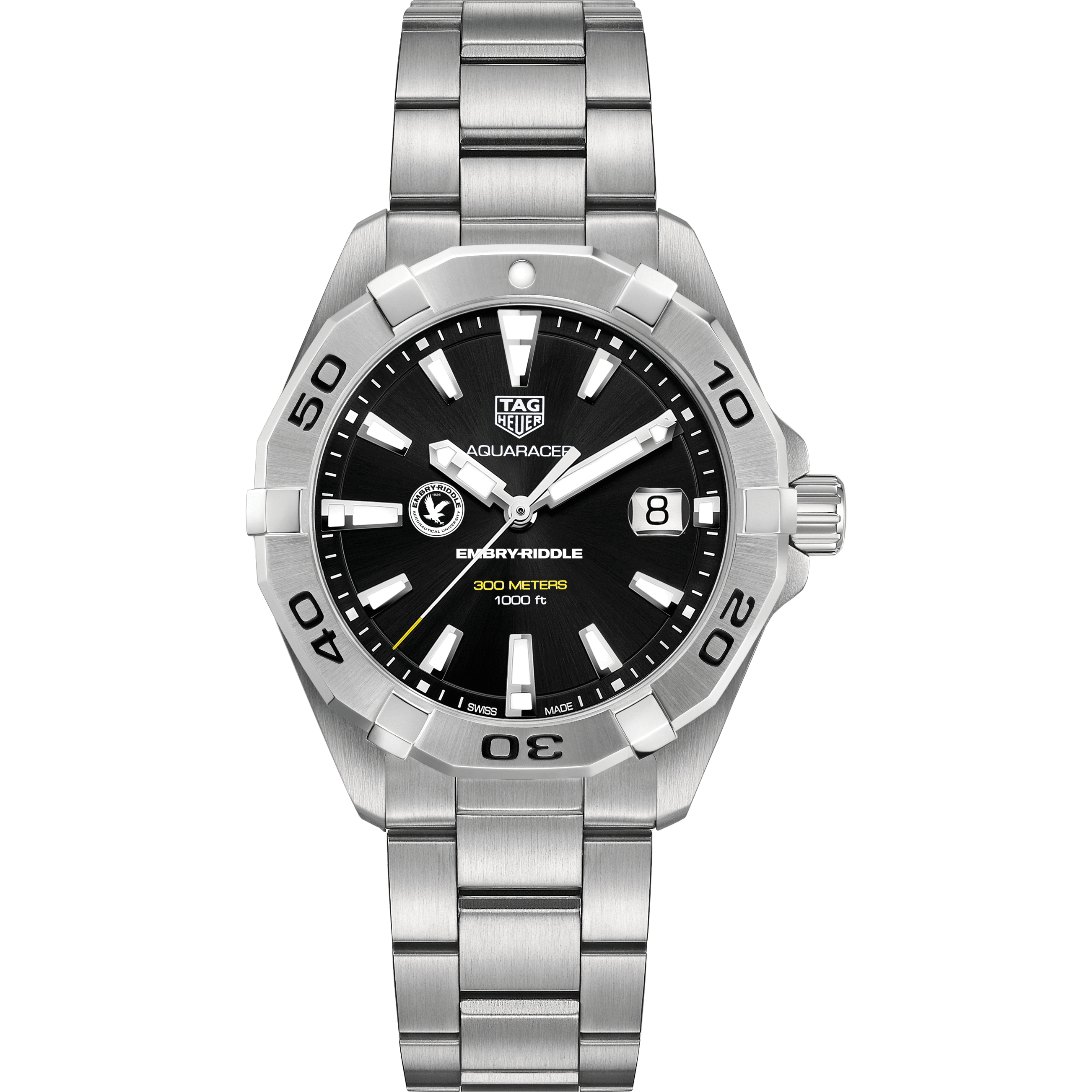 Embry-Riddle Men's TAG Heuer Steel Aquaracer with Black Dial - Image 2