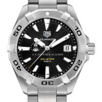 US Air Force Academy Men's TAG Heuer Steel Aquaracer with Black Dial